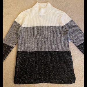 Calvin Klein Color-Block Mock Neck Sweater